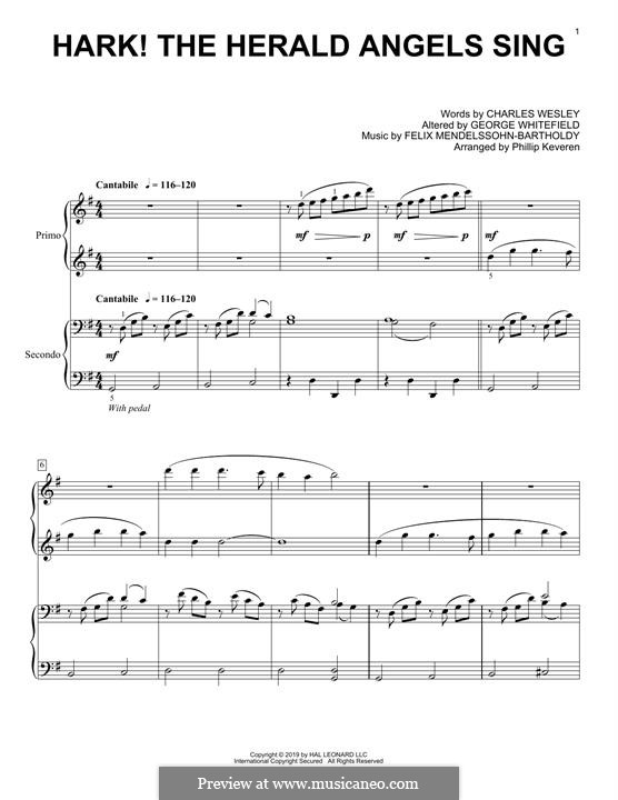 For piano: For four hands by Felix Mendelssohn-Bartholdy