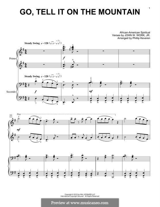 Go, Tell it on the Mountain (Printable Scores): For piano four hands by folklore