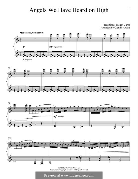 Angels We Have Heard on High, for Piano: For piano by folklore