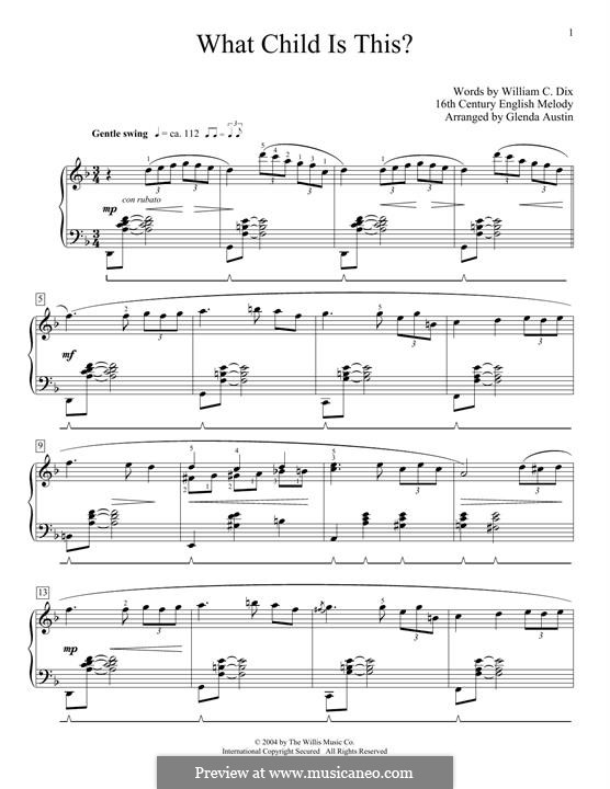 What Child is This (Christmas Carol): For piano by folklore