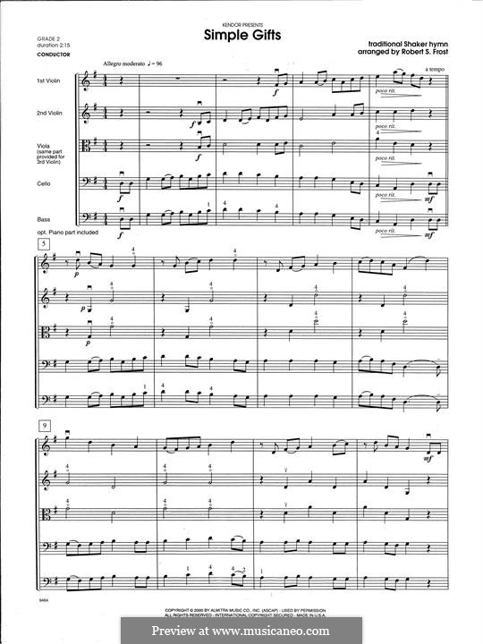 Simple Gifts (Chamber Arrangements): For strings orchestra – Full Score by folklore