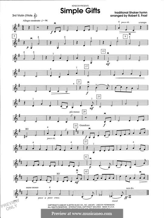Simple Gifts (Chamber Arrangements): For strings orchestra – Violin 3 (Viola T.C.) part by folklore