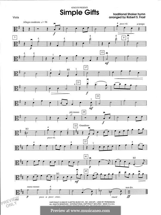 Simple Gifts (Chamber Arrangements): For strings orchestra – Viola part by folklore