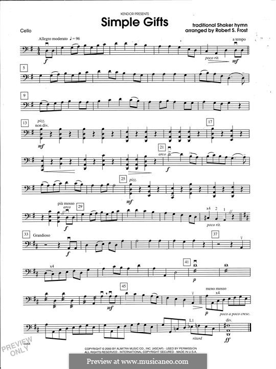Simple Gifts (Chamber Arrangements): For strings orchestra – Cello part by folklore