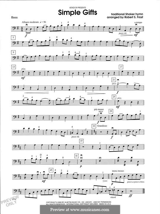 Simple Gifts (Chamber Arrangements): For strings orchestra – Bass part by folklore