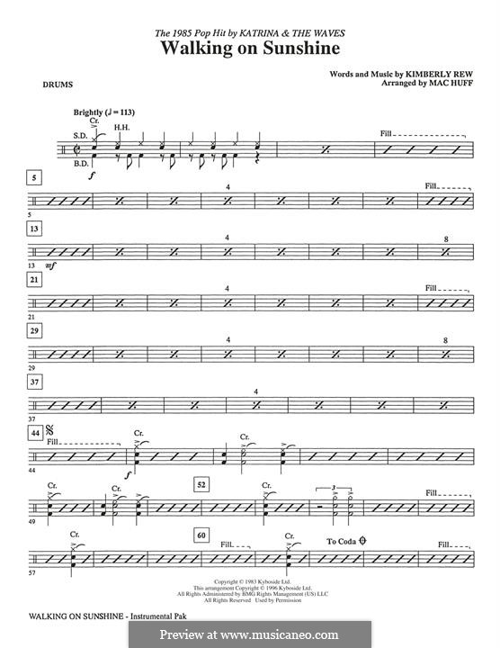 Walking on Sunshine (Katrina and The Waves): Drums part by Kimberley Rew