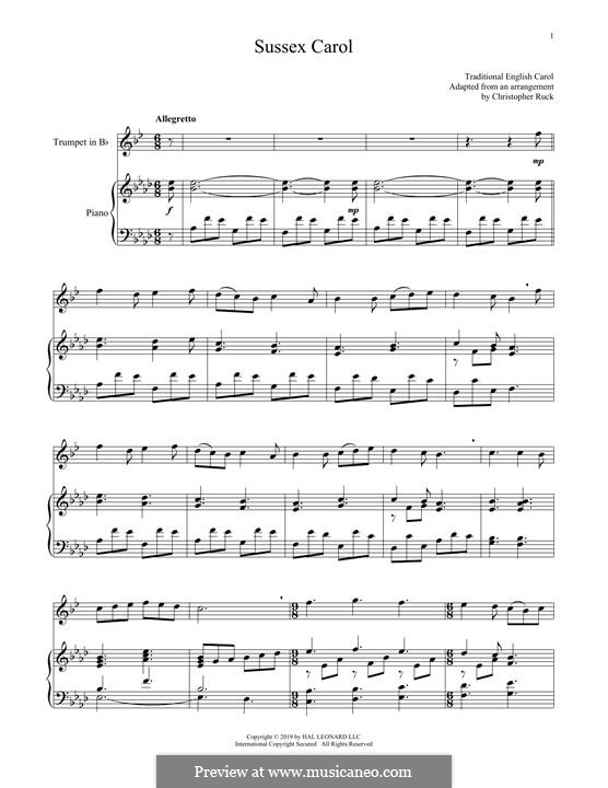 Sussex Carol: For trumpet and piano by folklore