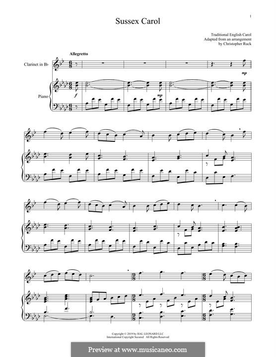 Sussex Carol: For clarinet and piano by folklore