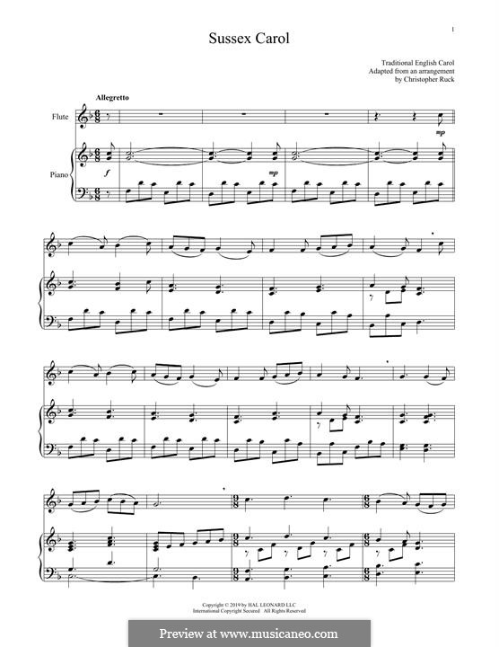 Sussex Carol: For flute and piano by folklore