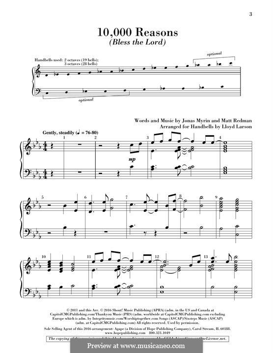 10,000 Reasons (Bless the Lord): Handbells part by Jonas Myrin, Matt Redman