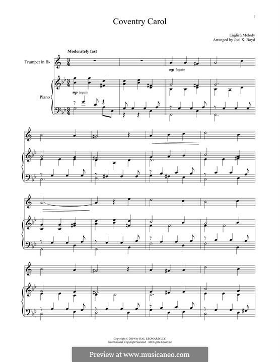 Coventry Carol: For trumpet and piano by folklore
