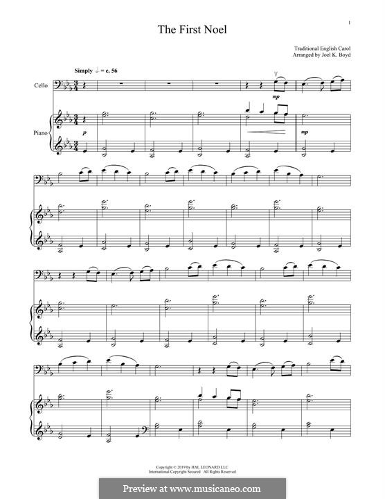 The First Nowell (The First Noël), Printable scores: For cello and piano by folklore