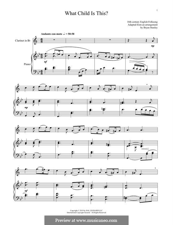 What Child is This (Christmas Carol): For clarinet and piano by folklore