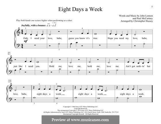 Eight Days a Week (The Beatles): For piano four hands by John Lennon, Paul McCartney