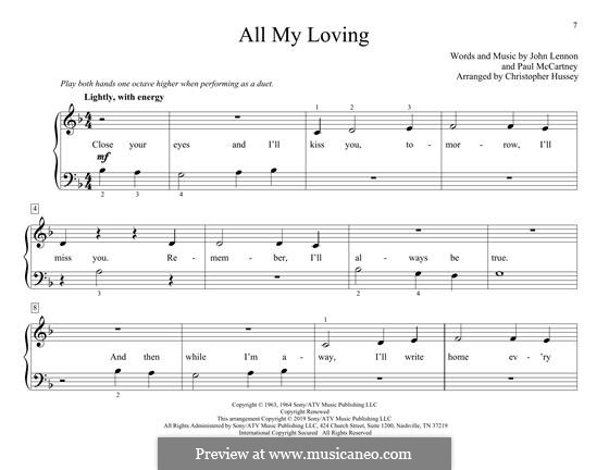 All My Loving (for guitar or piano): For piano by John Lennon, Paul McCartney