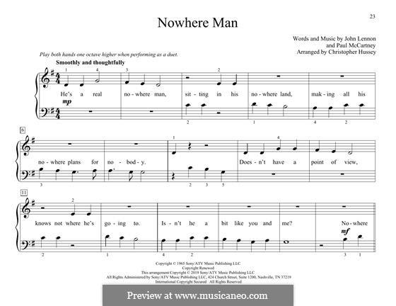 Nowhere Man (The Beatles): For piano four hands by John Lennon, Paul McCartney