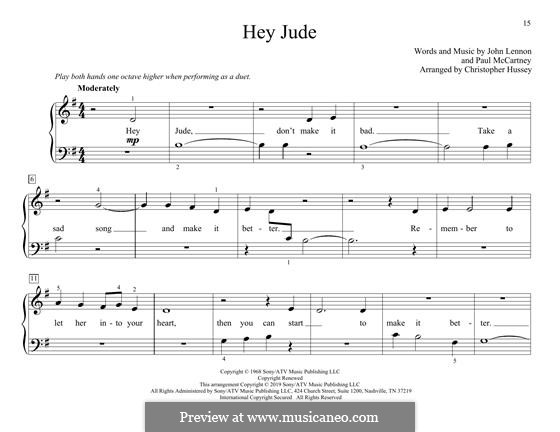 Hey Jude (The Beatles), for Piano: For four hands by John Lennon, Paul McCartney
