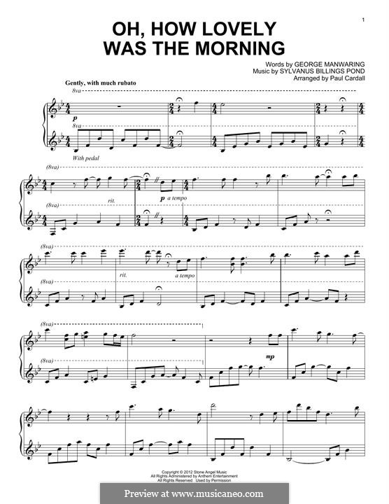 Oh, How Lovely Was the Morning: For piano by Sylvanus Billings Pond