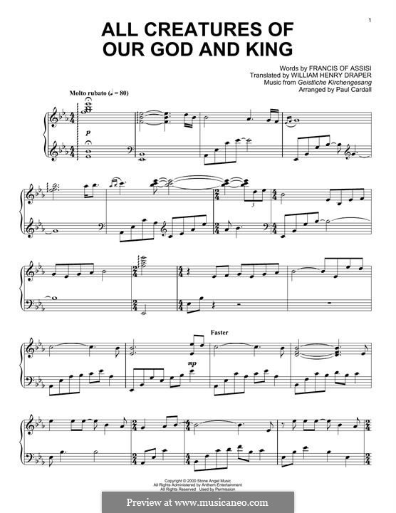 All Creatures of Our God and King: For piano by folklore