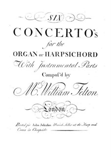 Six Concertos for Organ (or Harpsichord) and Orchestra, Op.1: Oboe II part by William Felton