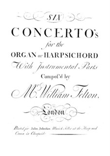 Six Concertos for Organ (or Harpsichord) and Orchestra, Op.1: Violin I part by William Felton