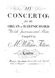 Six Concertos for Organ (or Harpsichord) and Orchestra, Op.1: Viola part by William Felton