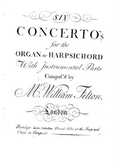 Six Concertos for Organ (or Harpsichord) and Orchestra, Op.1: Cello part by William Felton