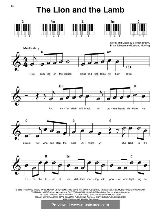 The Lion and The Lamb (Big Daddy Weave): For piano by Brian Johnson, Leeland Mooring, Brenton Brown