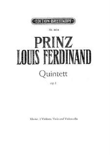 Piano Quintet in C Minor, Op.1: Full score, parts by Louis Ferdinand Prince of Prussia