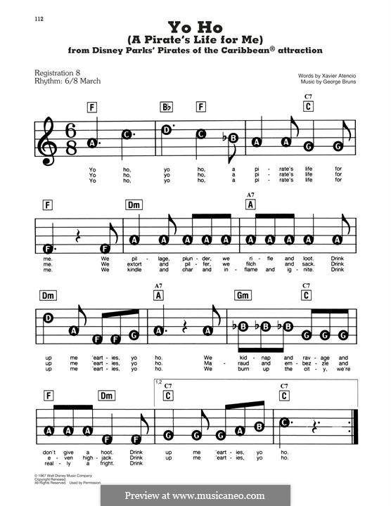 Yo Ho (A Pirate's Life for Me): For easy piano by George Bruns