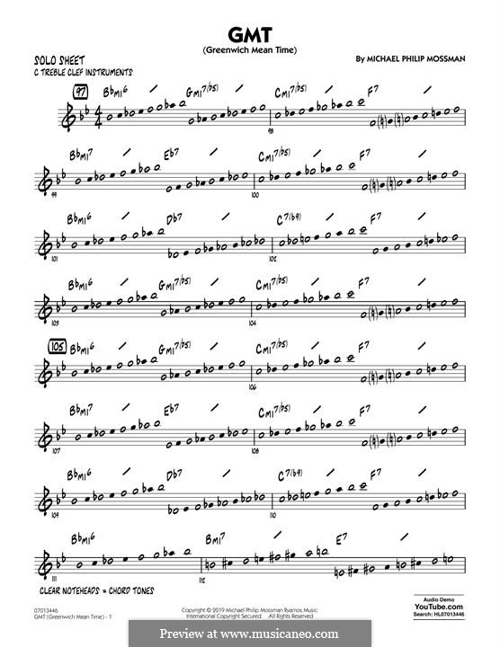 GMT (Greenwich Mean Time): C Solo Sheet part by Michael Philip Mossman