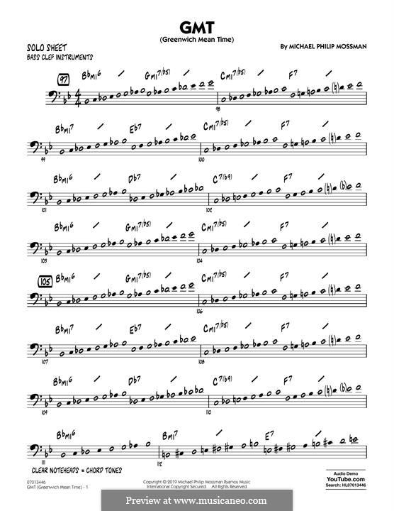 GMT (Greenwich Mean Time): Bass Clef Solo Sheet part by Michael Philip Mossman