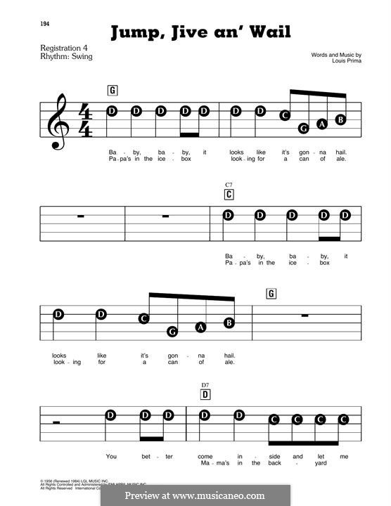Jump, Jive an' Wail: For piano by Louis Prima