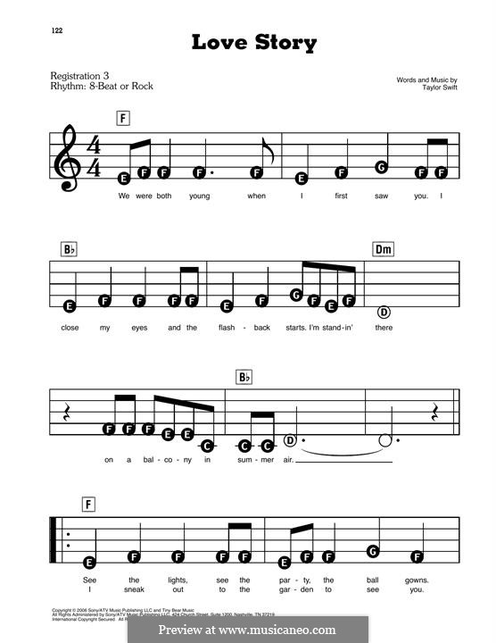 Love Story: For piano by Taylor Swift
