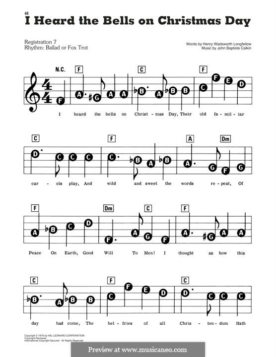 I Heard the Bells on Christmas Day: For easy piano by Johnny Marks