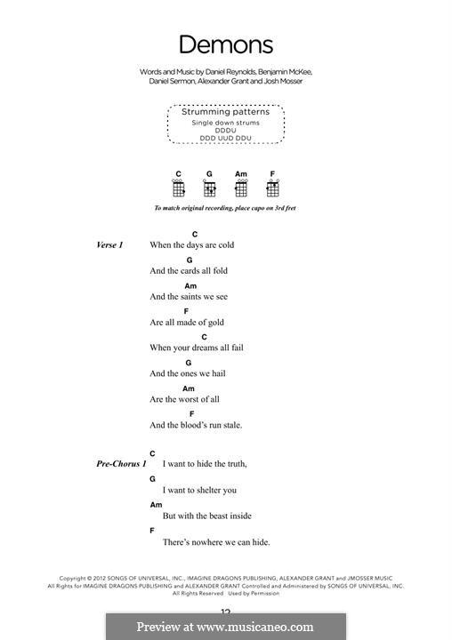 Demons (Imagine Dragons): For ukulele by Alexander Grant, Benjamin McKee, Daniel Reynolds, Daniel Sermon, Josh Mosser