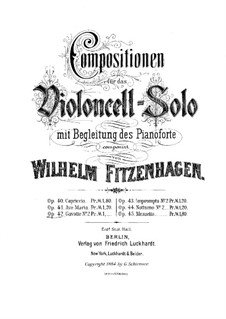 Gavotte No.2 for Cello and Piano, Op.42: Solo part by Wilhelm Fitzenhagen