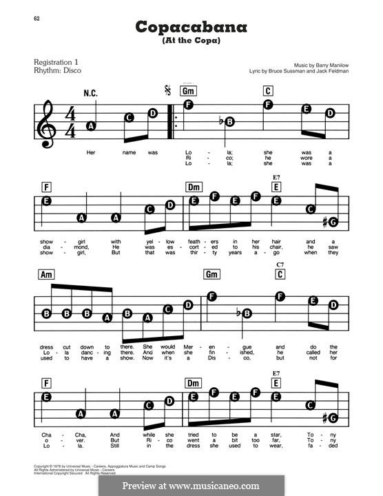 Copacabana (At the Copa): For piano by Barry Manilow