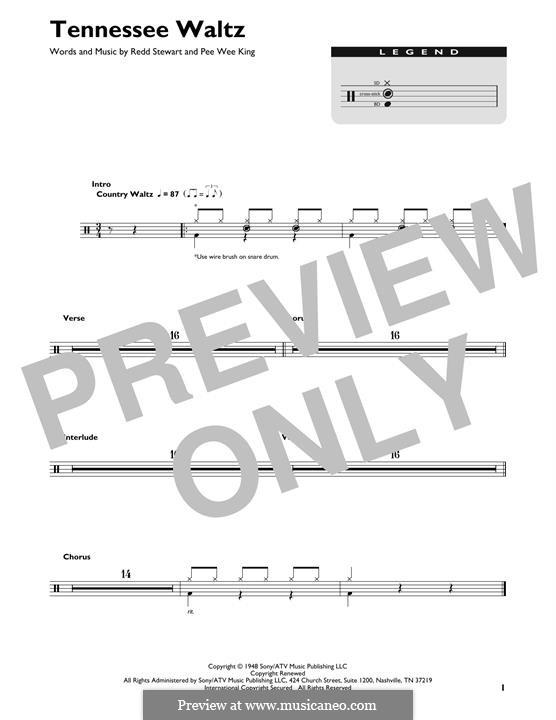 Tennessee Waltz (Patty Page): Drum set by Pee Wee King, Redd Stewart