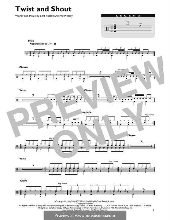 Twist and Shout (The Beatles): Drum set by Bert Russell, Phil Medley