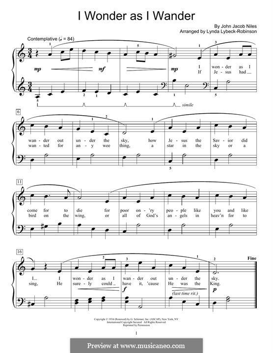 I Wonder as I Wander: For piano by John Jacob Niles