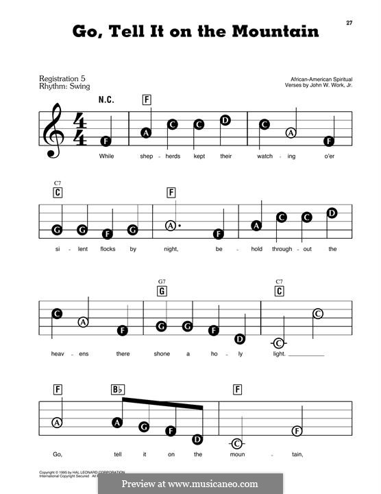 Go, Tell it on the Mountain (Printable Scores): For piano by folklore