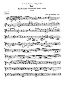 Trio for Violin, Cello and Piano No.5 'Ghost', Op.70 No.1: Violin part by Ludwig van Beethoven