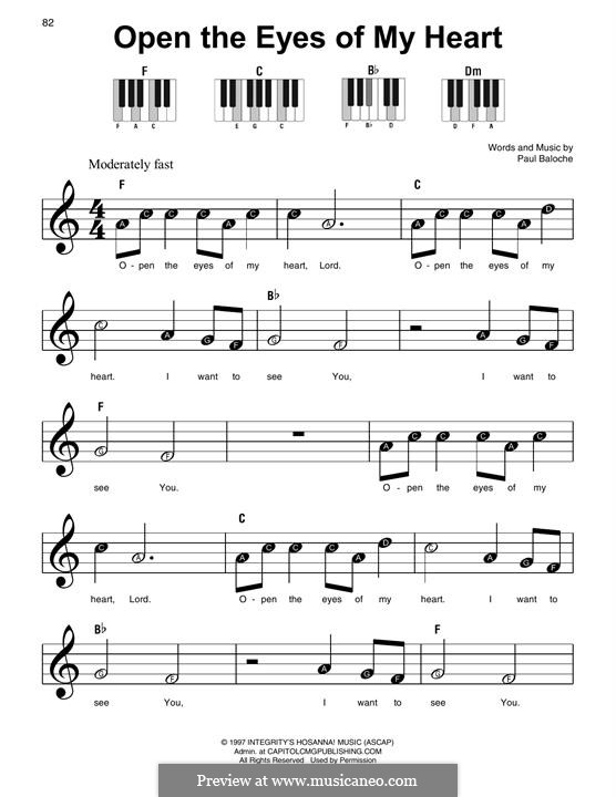 Open the Eyes of My Heart: For piano by Paul Baloche