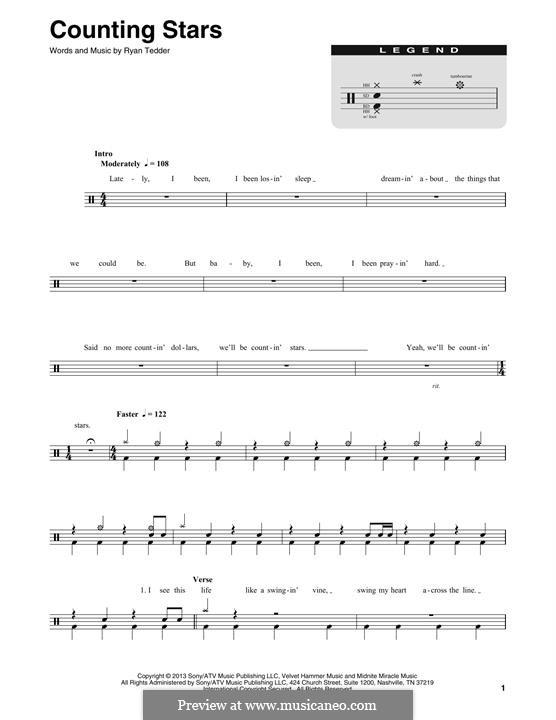 Counting Stars (One Republic): Drum set by Ryan B Tedder