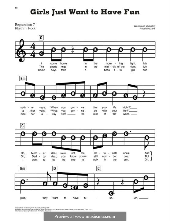 Girls Just Want to Have Fun: For piano by Robert Hazard