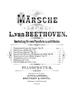 Fragments: March, for two pianos eight hands – piano II part by Ludwig van Beethoven