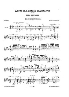 Sonata for Piano No.4, Op.7: Movement II, for guitar by Ludwig van Beethoven