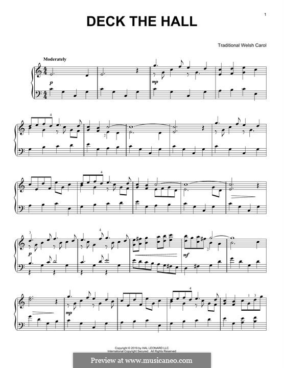 Deck the Hall, for Piano: For a single performer by folklore