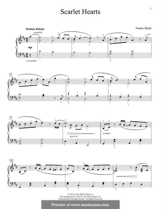 Scarlet Hearts: For piano by Naoko Ikeda